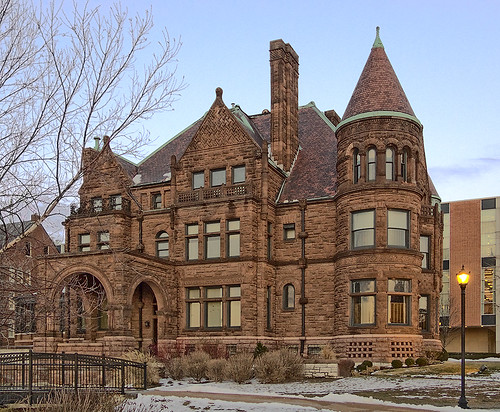 Saint Louis University, in Saint Louis, Missouri, USA - Cupples House at dusk
