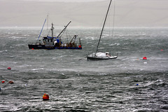 Ricochet takes a battering during the worst winter storm (doublejeopardy) Tags: storm cornwall harbour yacht falmouth ricochet buoyant