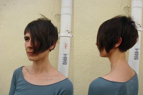 curly hair · haircut short asymmetric
