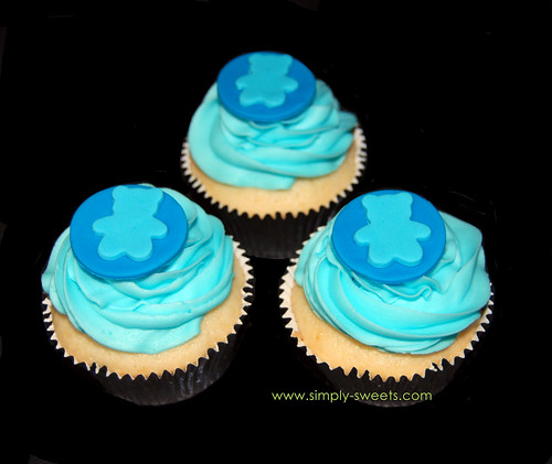 baby boy shower teddy bear themed cupcakes closeup