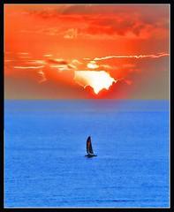 Sailing to sunset (Sunil Menon) Tags: ocean blue sunset waikiki pshop sail aplusphoto