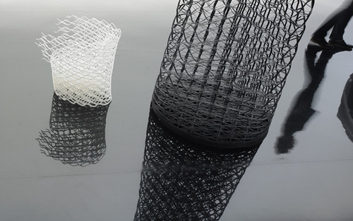 Elastic Diamond chair and display for Lexus by Nendo