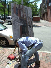Artist Painting in Oils, en plein air - Boston