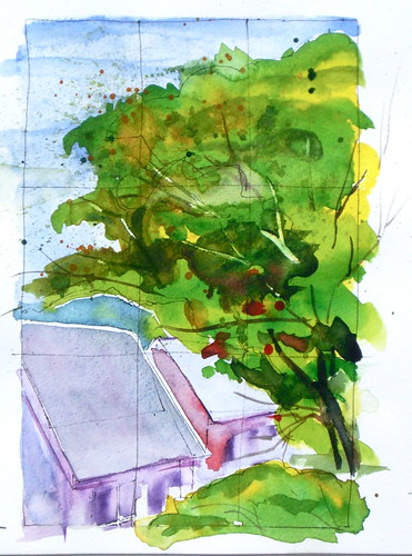 Watercolor Sketch - Knoxville Backyard