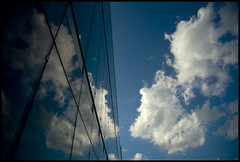 glass meets sky (Andy Marfia) Tags: sky chicago reflection glass clouds d50 guesswherechicago cloudporn 1870mm allrightsreserved loyolauniversity rogerspark f35 13200sec andymarfia chicagoneverguessed
