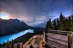 Peyto Lake and Bow Pass (_eurotrash) Tags: mountain lake nature landscape pass roadtrip lookout alberta bow banff 1020 hdr peytolake peyto cotcpersonalfavorite 40d aplusphoto gnart2008 bowpass