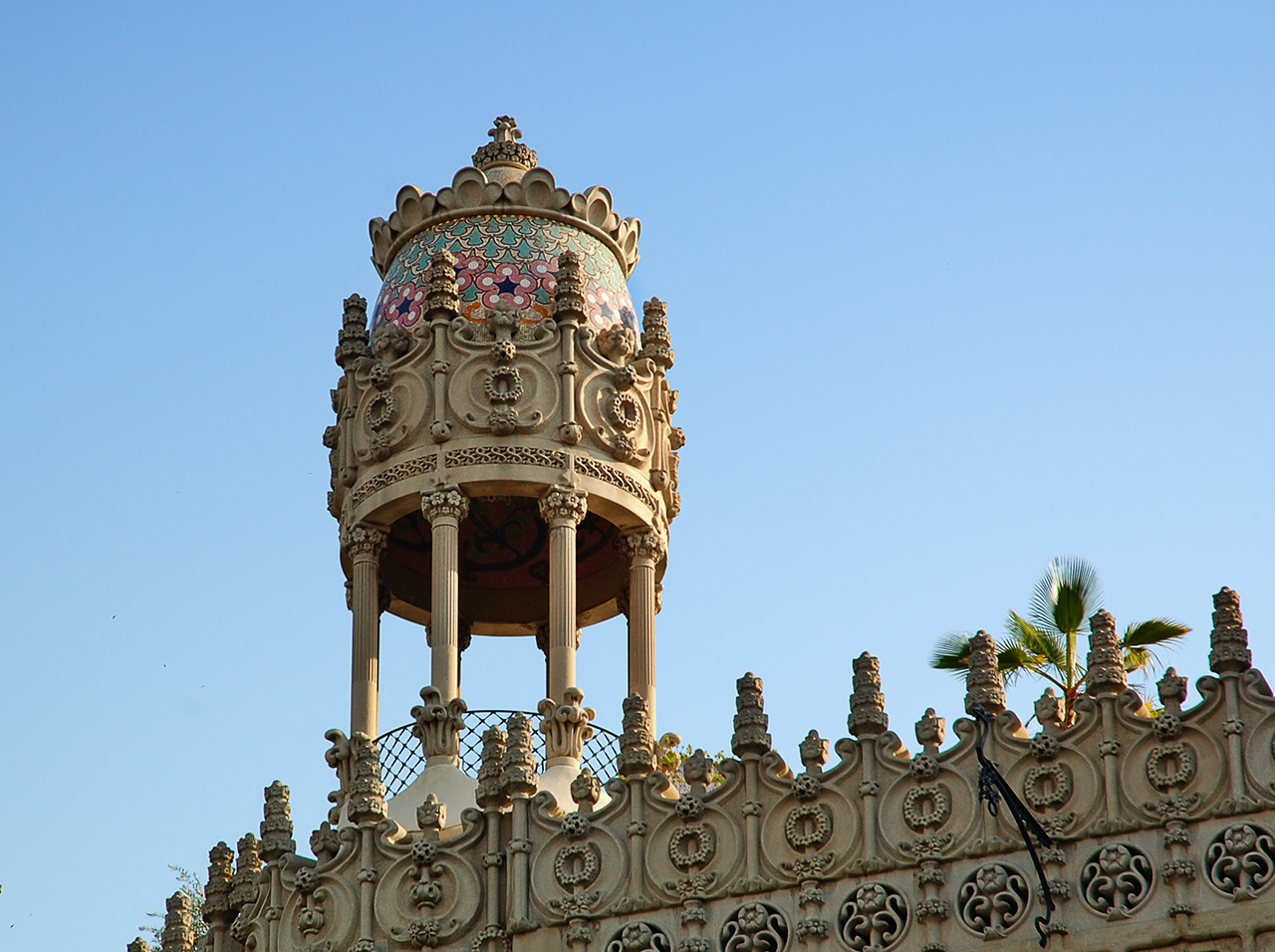 Detail of Casa Lleó Morera at Passeig de Gracia 35, Barcelona, Spain