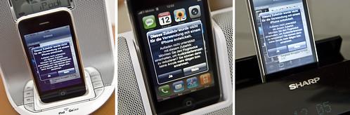 iPhone 3G in drei verschiedenen Docks