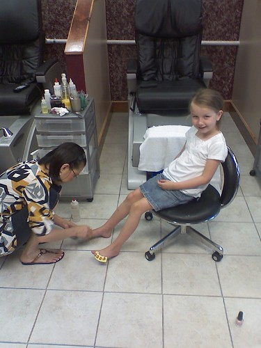 Sarah's first pedicure