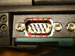 D-SUB 9ピン male(オス) の ピン番号配置写真