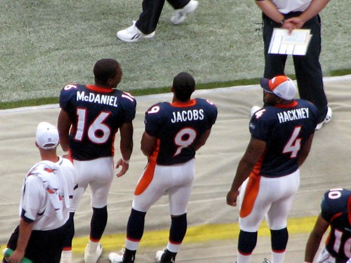 Broncos Marquay McDaniel, Taylor Jacobs and Darrell Hackney