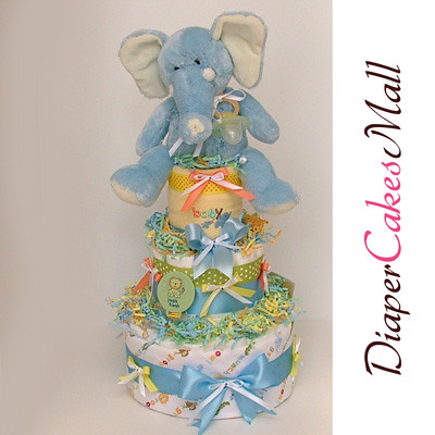 JUNGLE ELEPHANT DIAPER CAKE! front2 view