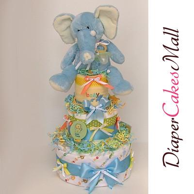 JUNGLE ELEPHANT DIAPER CAKE! front2 view