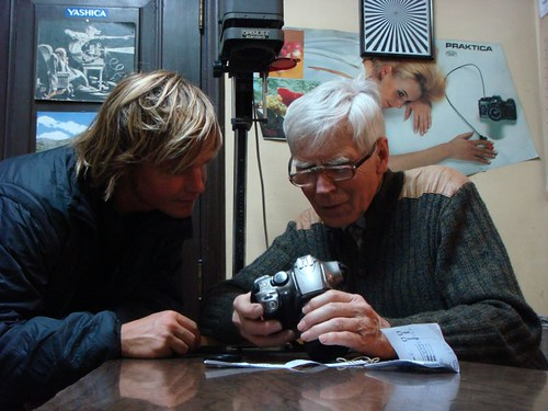 Me and Harry Müller, the camera repair man. Santiago, Chile.