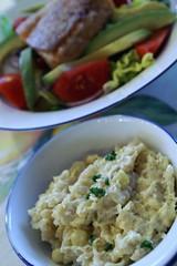 creamed corn orzo + salad with salmon