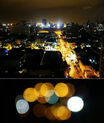 City Lights (Dan Ribeiro) Tags: lighting orange streets cold brasil night diptych cloudy bokeh sopaulo santos citylights weirdbokeh danielribeiro dsch3 iguessilovediptych 05mfocus