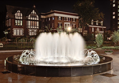 Central West End Neighborhood, in Saint Louis, Missouri, USA - Maryland Plaza fountain at night