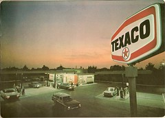 Texaco station view, 1971 (mark_potter_2000) Tags: chevrolet 1971 gasstation gasoline rambler impala texaco servicestation firechief corvair chevyii matawan motoroil skychief havoline leadfreetexaco travelatlas