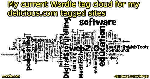 Wordle tag cloud for delicious.com user wfryer