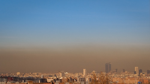 Panorámica de Madrid, con su boina de contaminación