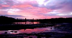 Sunset at Britania Bridge (Ethan Hayes) Tags: bridge pink red sky colour reflection water wales night speed nikon long slow north sigma shutter 1855mm nikkor 70300mm tamron expsure britania d40 d40x