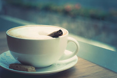 (Lee_Bryan) Tags: window coffee cookie dof bokeh cinnamon foam cappuccino froth