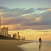Sunset walk, Surfer's Paradise beach, Queensland, Australia