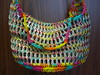 Rainbow Pull Tab Tote (Pop Top Lady) Tags: aluminum crochet reciclagem pulltabs croche lacres trashion poptops recycledupcycled