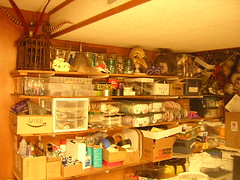 Studio shelves with materials