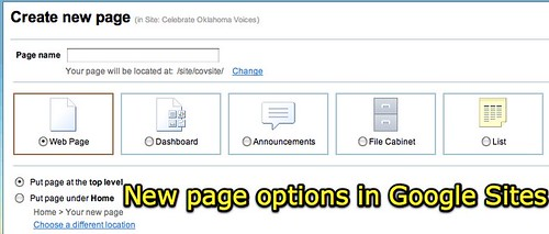 New page options in Google Sites