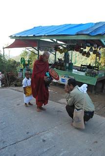 Bhikkhus on alms- round, pindapata