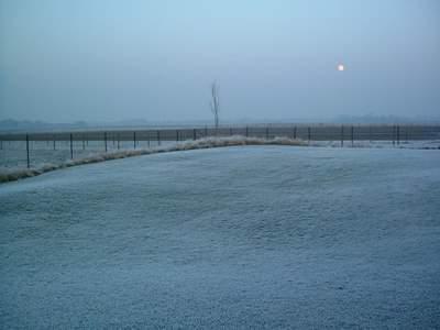 Dusk winter landscape Belgium