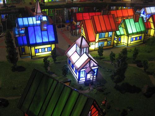 Glass village diorama