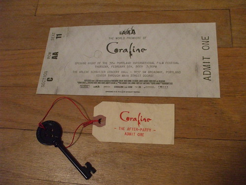Coraline premiere - the ticket and key to the after-party