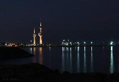 Kuwait Towers (ZiZLoSs) Tags: sea reflection night canon eos towers kuwait 1855mm 2009 aziz   abdulaziz   450d zizloss  3aziz almanie photoziz