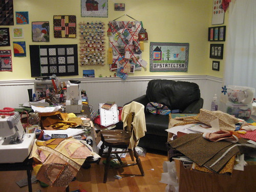 finished projects yield a messy sewing room!