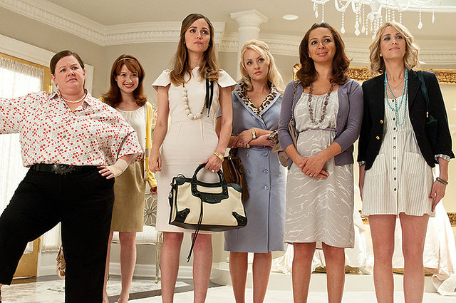 (L-R) Melissa McCarthy, Ellie Kemper, Rose Byrne, Wendi McLendon-Covey, Maya Rudolph and Kristen Wiig get ready for misadventure in Bridesmaids.
