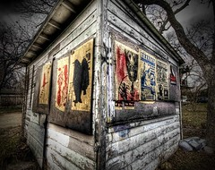 The Mysterious Shack with the Unusual Flyers (Stuck in Customs) Tags: pictures lighting trees light sky panorama art texture mystery modern night austin reflections photography blood nikon shoot artist mood texas photographer shot angle photos details perspective dramatic images best killer processing mysterious horror murder pro ghosts shack capture fears tones flyers serialkiller hdr csi hauntedhouse suspects treatment investigation mostviewed scarier alfredhitchcok stuckincustoms treyratcliff stuking bloodshade