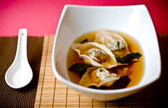 Wonton Soup (teenytinyturkey) Tags: soup ginger vegan yummy chinese broccoli wonton seitan broth wontonsoup