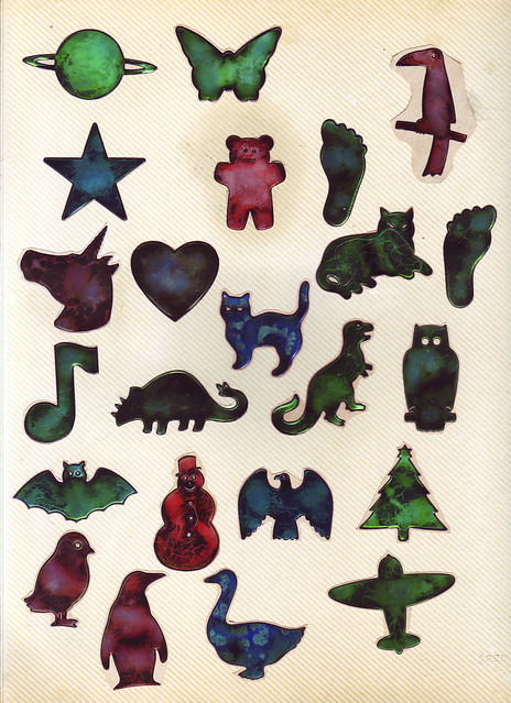 80's Vintage Liquid Crystal Oily Stickers- green16