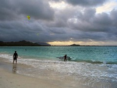 Conflict of interests (AntyDiluvian) Tags: statepark 2001 kite beach clouds hawaii evening bay oahu crash kiteboarding angry windsurfing kiteboard tangle collisions kailua dragged kailuabeach kailuabay