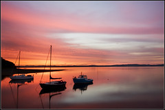 The perfect end (Ally Mac) Tags: uk longexposure light sunset sea colour reflection water silhouette wow reflections boats scotland boat amazing edinburgh smooth calm gloaming crammond