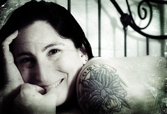 """""""Breathe to me, while I hold you close"""" / Day 294 Year 2 (sadandbeautiful (Sarah)) Tags: portrait woman selfportrait texture me smile tattoo female self bed yeartwo bedframe whitman 365days day294y2"""