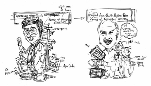 Caricatures of TST and Heuer Mastercard drafts 1