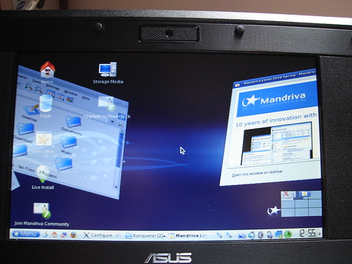 KDE 3 - Mandriva One 2008 on Asus EeePC - Metisse