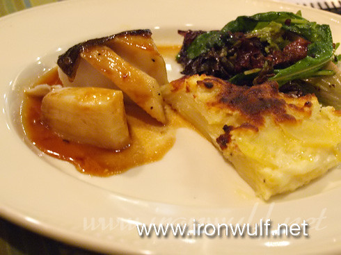 Maple Glazed Black Cod with boursign (herbed cream) cheese potato gratin
