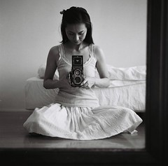 with Rolleiflex, first self (miki**) Tags: me mirror antique room first rolleiflex35f