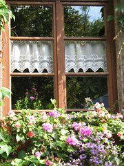 Summer Window (Batikart ... handicapped ... sorry for no comments) Tags: travel flowers summer vacation sky window architecture canon germany flora holidays sommer fenster urlaub himmel architektur geranium vacanze canonpowershot a610 geranie canonpowershota610 geranien viewonblack batikart spitzengardine