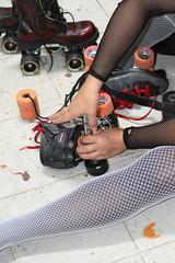Jocelyn Foye - Roller Derby Project - Diana With Skate Key (Marshall Astor - Food Fetishist) Tags: sculpture art skating wheels performance rollerderby changing fishnets skater performanceart process documentation rollerskating wrench derbydolls skatekey laart laderbydolls jocelynfoye dianabrooks thunderkiss documentationiseverything