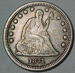 1871 Quarter Hex design (Obverse)